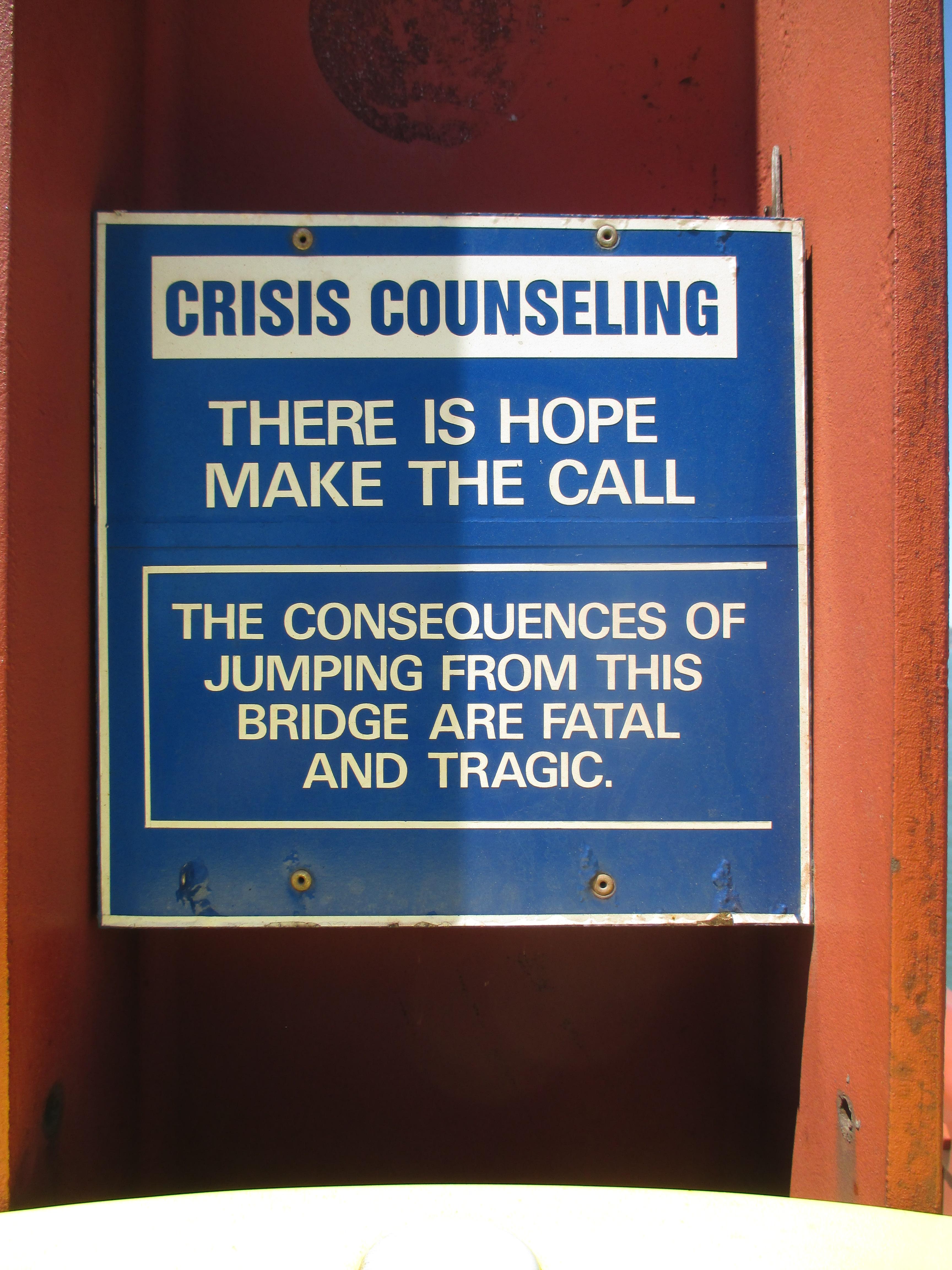 crisis counseling, Golden Gate Bridge