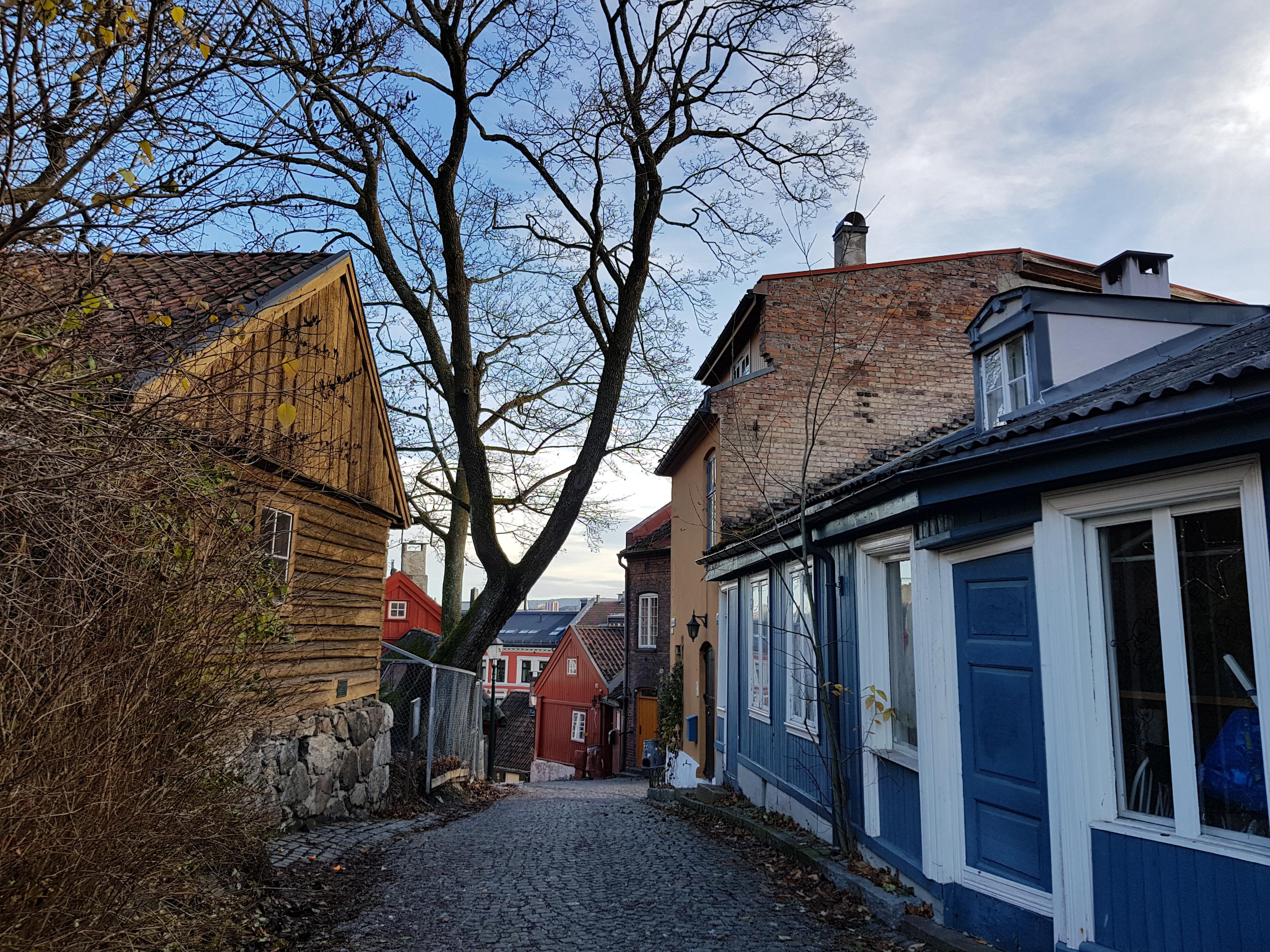 Malerische Häuser in der Darmstreded in Oslo